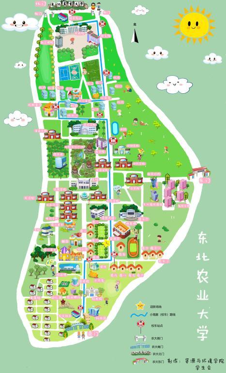 手绘学校地图